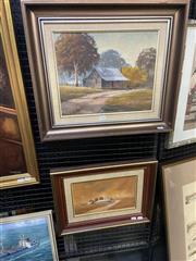 Sale 8995 - Lot 2026 - P. Connor (2 works) The Ol Cottage; Rural Homestead oils, 47 x 55cm; 38 x47cm (frames), each signed