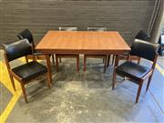 Sale 9056 - Lot 1051 - Chiswell Dining Suite with Extension Table and 6 Vinyl Upholstered Chairs (h:79 x w:137 x d:89cm)
