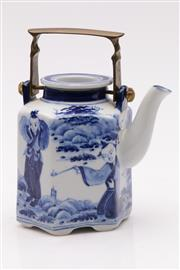 Sale 9060 - Lot 57 - A Blue and White Tea Pot with Brass Handle (H 15cm) Character Marks to Base