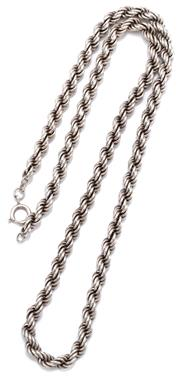 Sale 9074 - Lot 336 - A SILVER ROPE CHAIN; attached to bolt ring clasp, length 61cm, wt. 75.92g.