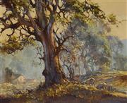 Sale 9084 - Lot 544 - DArcy Doyle (1932 - 2001) - Morning Farmyard & Sheep Flock 26 x 34 cm (frame: 40 x 48 x 3 cm)