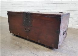 Sale 9126 - Lot 1069 - Japanese Meiji Chest, with hinged lid & iron mounts, including locking plate (h:45 l:98 d45cm)