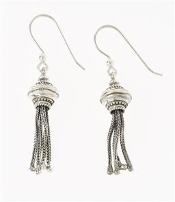 Sale 9145 - Lot 323 - A PAIR OF VICTORIAN STYLE SILVER TASSEL EARRINGS; on shepherd hook fittings, length 50mm.