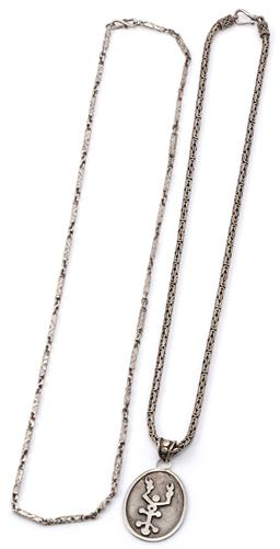 Sale 9149 - Lot 334 - TWO SILVER CHAINS WITH PENDANT; 3mm wide round Byzantian link to hook clasp, length 50cm, attached with an oval pendant with stylise...