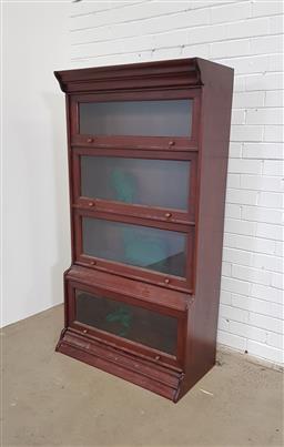 Sale 9154 - Lot 1006 - Mahogany legal 4 tier bookcase (h:157 x w:87 x d:47cm)