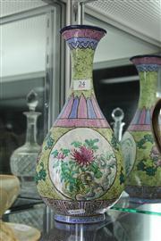 Sale 8324 - Lot 75 - Late Qing Enamelled Yixing Vase Signed Ge Mingchang