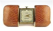 Sale 8402W - Lot 66 - LACO VINTAGE GERMAN PURSE WATCH; square dial with applied markers, centre seconds on a 17 jewell movement in a sliding lizard skin c...