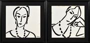 Sale 8411A - Lot 5085 - Peter Walsh (1958 - 2008) (2 works) - Rosalind I & II, 1995 37 x 40cm, each
