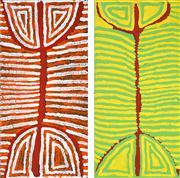 Sale 8478A - Lot 5023 - Judy Watson Napangardi (c1925 - 2016) (2 works) - Majardi Dreaming 60 x 30cm, each (stretched & ready to hang)