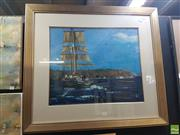 Sale 8573 - Lot 2019 - Bill Bramely, Tall Ship Off the Heads, oil on canvas on board, 50 x 60cm, signed lower right