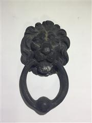 Sale 8706A - Lot 73 - An antique 19th century brass lion door knocker, aged, general wear, previously painted, H 16 x W 9cm.