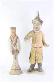 Sale 8802 - Lot 245 - Chinese Pottered Figures of a Man and Lady (Height: 60 and 47cm, Chip to Base