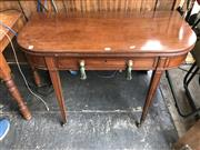 Sale 8868 - Lot 1160 - George III Mahogany Fold Over Tea Table, with D top, frieze drawer & tapering legs