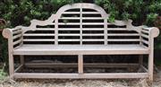 Sale 8950G - Lot 94 - A classic Lutyens teak bench 1.8m (leg to leg ) wide 1m height