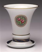 Sale 9078 - Lot 53 - A 19th Century Style Fürstenberg Trumpet Shaped Porcelain Vase with Matching Undertray , H:14cm