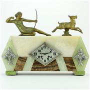 Sale 8372 - Lot 63 - French Art Deco Marble & Spelter Mantle Clock