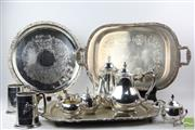 Sale 8529 - Lot 89 - Horse Themed Silver Plated Ware Including Trays, Cups & Teapots