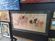 Sale 8595 - Lot 2068 - Large Oriental Artwork of Travelling Family