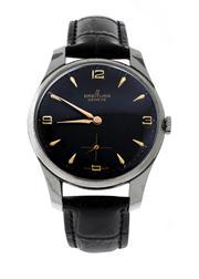 Sale 8618A - Lot 21 - A large vintage black dial Breitling circa 1950's wristwatch;