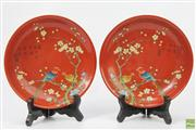 Sale 8635W - Lot 61 - Pair of Handpainted Chinese Plates with Bird Motif Stamp to Base (Dia 20cm)