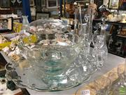 Sale 8685 - Lot 50 - Large Glass Jug with Stirrer Together with Other Glasswares inc Candlesticks