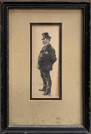 Sale 8686 - Lot 2006 - Artist Unknown - Portrait of a Gentleman in a Top Hat, c1890, 36.5 x 22.5cm (frame size), unsigned
