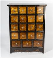 Sale 8703A - Lot 11 - A black lacqured oriental spice chest with 19 drawers, H x 124, D 43, W x 96