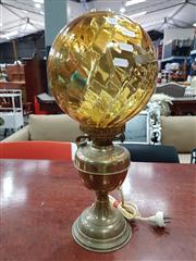 Sale 8724 - Lot 1009 - Converted Kerosene Desk Lamp with Art Deco Glass Shade