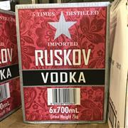 Sale 8801W - Lot 5 - 6x Ruskov Vodka, 700ml