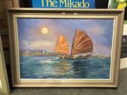 Sale 8811 - Lot 2088 - Val Chapleton - Antique Junk, Hong Kong, oil on board, 64.5 x 90 (frame), signed lower left
