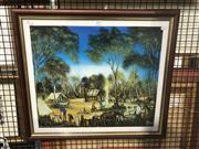 Sale 8824 - Lot 2059 - Pro Hart Knowing Around from Henry Lawson decorative print, signed -