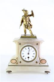 Sale 8972 - Lot 36 - A French PH Mouray Alabaster Clock H: 36cm x 25cm x 10cm