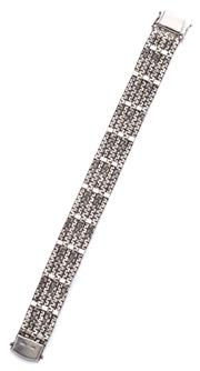 Sale 9074 - Lot 356 - VINTAGE SILVER BRACELET; 14.5mm wide 4 row bracelet with box clasp and 2 safety clips, length 19cm, wt. 33.5g.