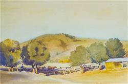 Sale 9093A - Lot 5005 - John Roy Eldershaw (1892 - 1973) - Farmyard Scene 31 x 47 cm (frame: 55 x 58 x 2 cm)