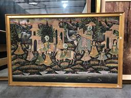 Sale 9139 - Lot 2095 - Indo-Persian painting depicting a courtly procession, frame: 101 x 159 cm,