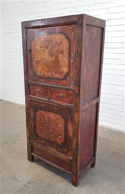 Sale 9154 - Lot 1011 - Antique Chinese two door cabinet with 2 central drawers (h167 x w75 x d46cm)