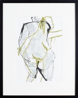 Sale 9191H - Lot 96 - GWYN TOSI Standing Nude mixed media on paper frame size 60 x 50 cm signed lower right