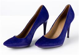Sale 9250F - Lot 11 - A pair of Balenciaga, Paris purple short hair heels, size 39.