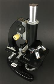 Sale 8567 - Lot 648 - Vintage Japanese Monocular Microscope with three objective lens on a revolving nosepiece