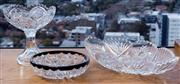Sale 8593A - Lot 36 - Two cut glass nut dishes, one with white metal rim, L or larger 33cm, together with a tazza