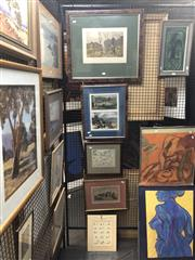 Sale 8853 - Lot 2078 - Group of Assorted Antique Prints incl. Water Hen Shooting; Map of Surrey; Blue Mountain Scenes from The Graphic; Bodium Castle, toge...
