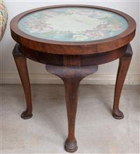 Sale 8963H - Lot 27 - A mid C20th round walnut occasional table with floral tapestry top diameter 50cm