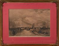 Sale 9080H - Lot 31 - After J M W Turner Fishing in Stormy Seas engraved by R Wallis  in a gilt frame, total size 85cm x 66cm