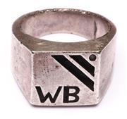 Sale 9078 - Lot 138 - A Heavy Gauge Gents Sterling Silver Ring , wt 25g