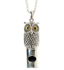 Sale 9145 - Lot 384 - STERLING SILVER WHISTLE PENDANT ON CHAIN; fashioned as an owl with paste eyes, length 52mm, on a belcher link chain to bolt ring cla...