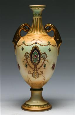 Sale 9138 - Lot 27 - A Twin Handled Crown Devon Vase (H:28cm)