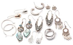 Sale 9160 - Lot 317 - NINE PAIRS OF SILVER EARRINGS; 4 pairs of drops on shepherds hook fittings incl. turquoise and synthetic spinel set, Celtic knots, f...