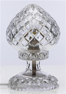 Sale 9245R - Lot 29 - A good vintage hand cut lead crystal table lamp C: 1940, rewired. Ht: 21cm