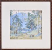 Sale 8382 - Lot 585 - Charles Tindall (1863 - 1951) - On the Nattai Creek, Burragorang, 1927 27 x 30cm