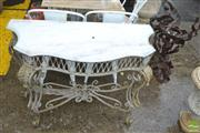 Sale 8383 - Lot 1370 - Marble Top Iron Base Consol